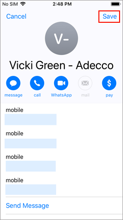 save the contact on an iphone