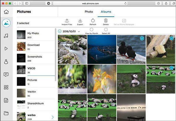 send pictures from the android phone to the mac computer with airmore