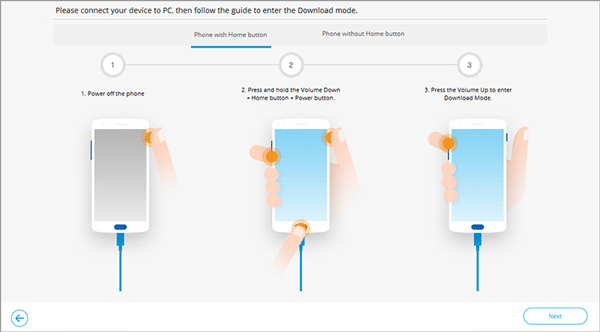 enter the download mode to fix phone white screen