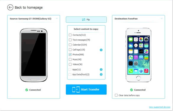 samsung to iphone transfer detects two devices successfully