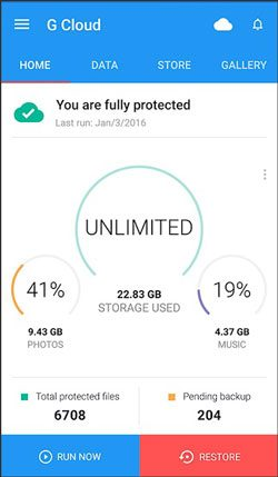 use g cloud backup app to back up android tablet before rooting