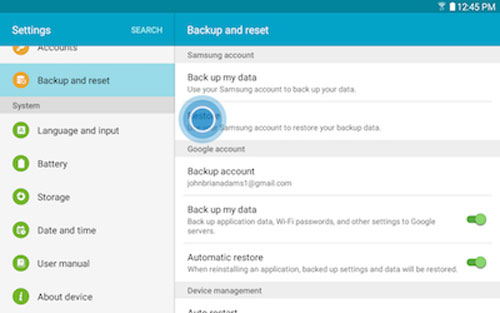 restore backup to samsung