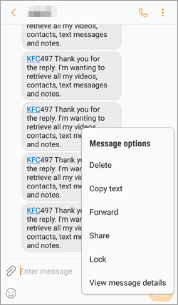 select specific text message