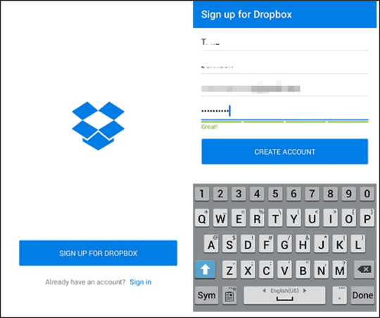 dropbox of android app to recover deleted photos from internal memory