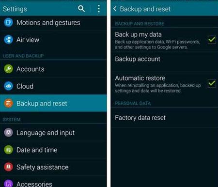 back up samsung s7 with samsung account