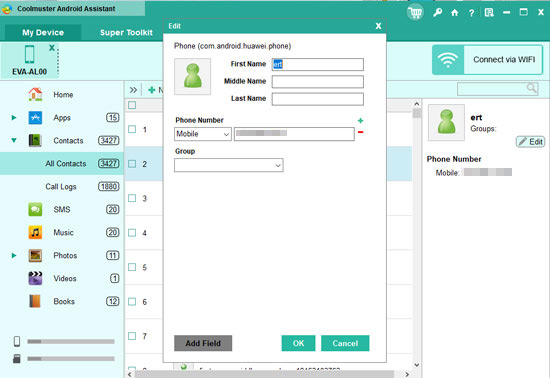 manage android contacts on computer