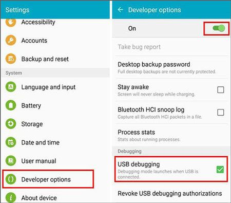 enable usb debugging feature on galaxy phone
