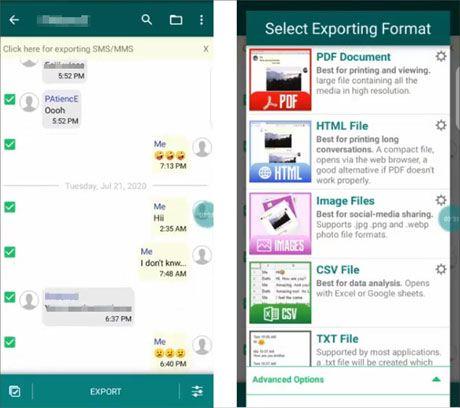 convert whatsapp messages to pdf via exporter for whatsapp