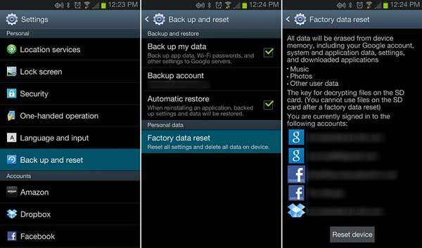 erase all data on android via factory reset