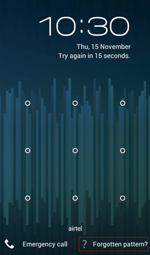 reset the android phone with forgot pattern