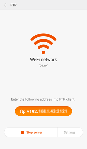 xiaomi files transfer via ftp