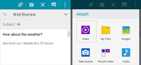 how to send videos from phone to computer using email