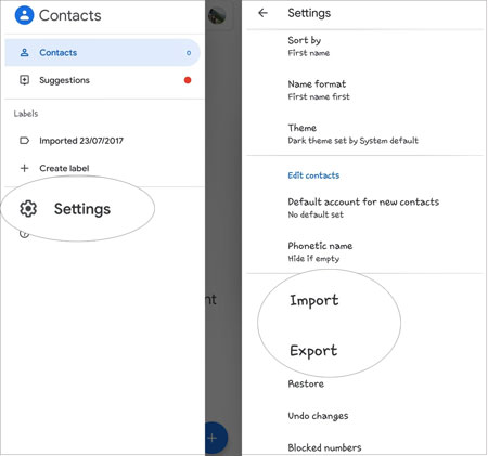import vcard to an android device via google contacts app