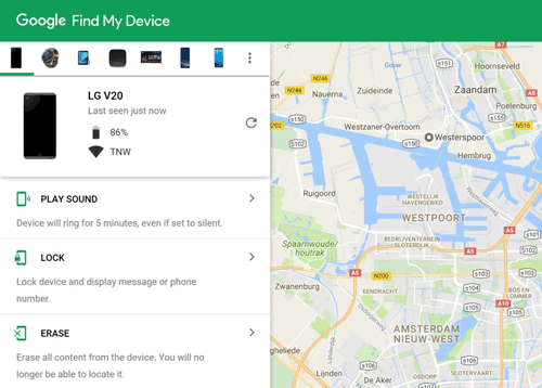 get into a locked android phone using find my device