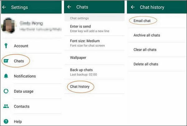 transfer whatsapp messages from iphone to samsung with email chat feature