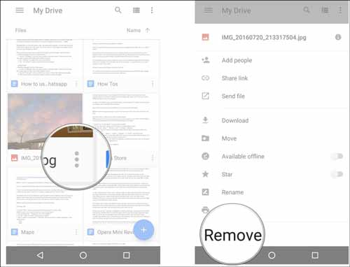 how to permanently delete pictures from google drive on android