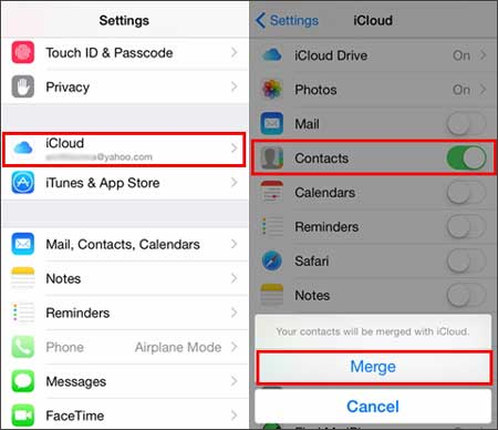 how to transfer contacts from iphone to ipad using icloud