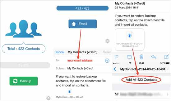 how to sync contacts from iphone to android with my contacts backup