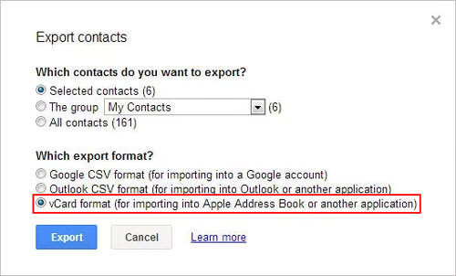 transfer contacts to mac with google account