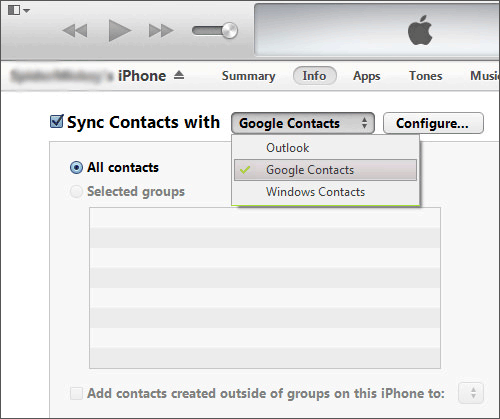 send iphone contacts to sony using itunes