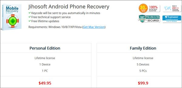 pricing of jihosoft android data recovery