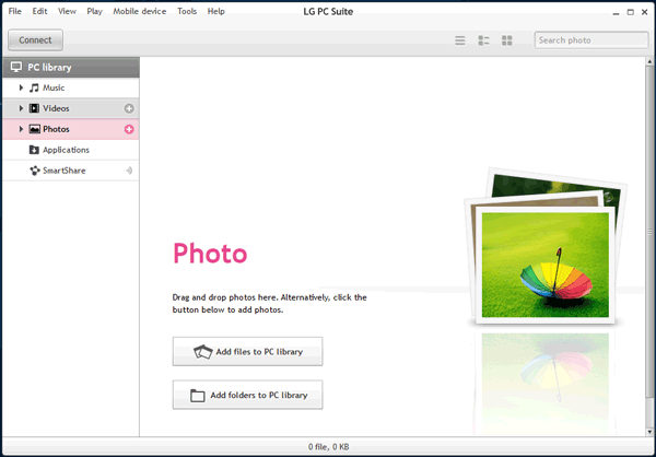 upload photos from lg to a computer via official lg pc suite