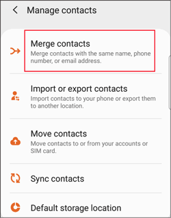 merge contacts via android contacts app