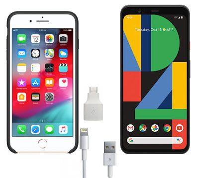 transfer files from iphone to pxiel with quick switch adaptor
