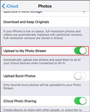 transfer photos from iphone to ipad using icloud