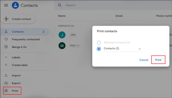 print contact list from android phone with google contacts