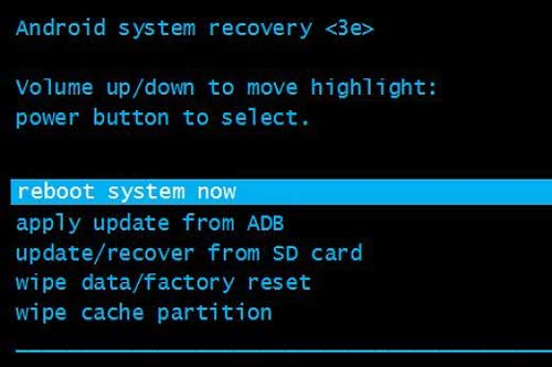 choose reboot system now option to factory reset android phone