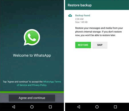 reinstall whatsapp on android device
