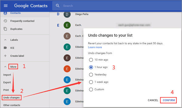 how to retrieve deleted phone numbers on android from gmail