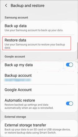 restore data to samsung galaxy s10