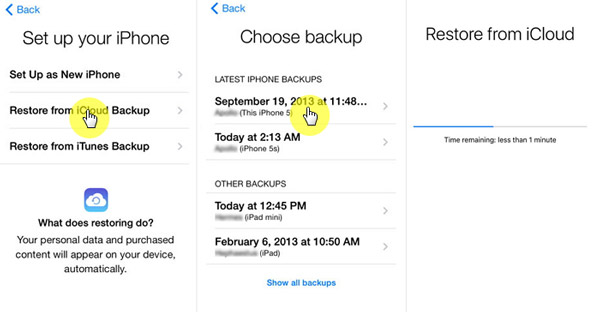 restore icloud backup to new phone