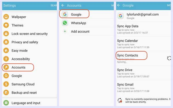sync contacts from android to iphone with gmail account