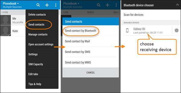 transfer contacts from samsung to sony xperia via bluetooth