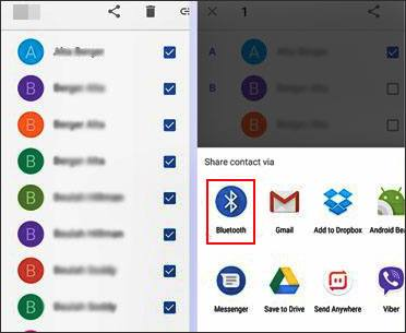 send contacts from samsung to oppo with bluetooth