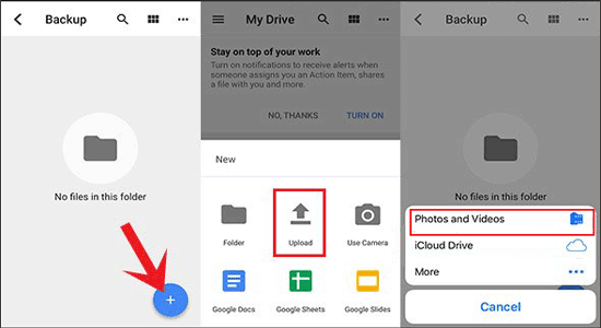 transfer iphone video to android by google drive