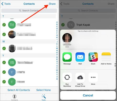 send contacts from ios to android via email
