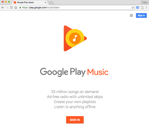 sign in google play music on web