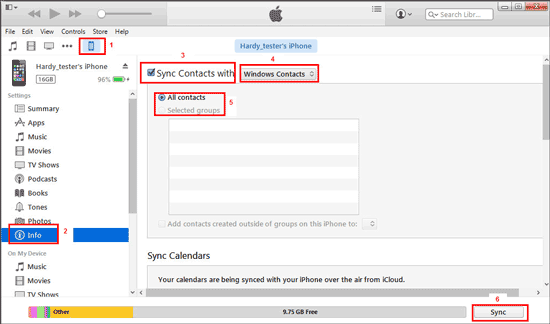 sync contacts from iphone to android with itunes