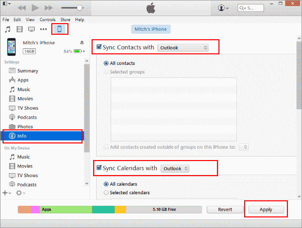 sync outlook contacts from android to iphone with itunes