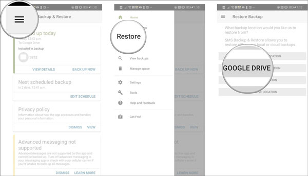 restore sms on google pixel via sms backup and restore app
