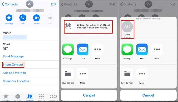 how to import contacts from iphone to ipad via airdrop