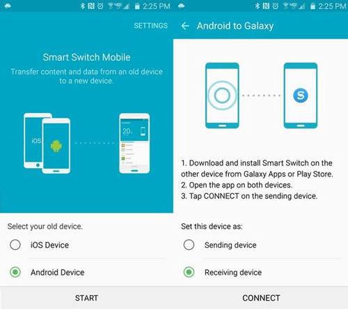 run smart switch on both htc and samsung
