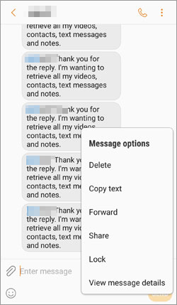 manually delete samsung text messages