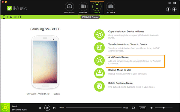 transfer music from mac to android with imusic