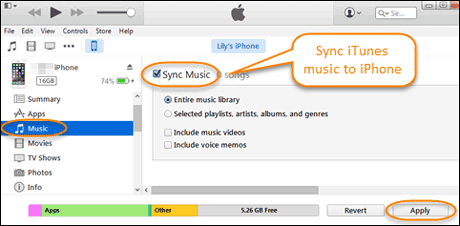 sync music from iphone to iphone with itunes