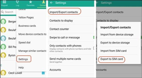 import or export contacts on vivo